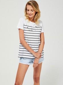 T-shirt Moodo w stylu casual z okrągłym dekoltem z bawełny