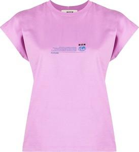 Różowy t-shirt MSGM z krótkim rękawem