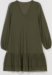 Zielona sukienka Mohito trapezowa mini z długim rękawem