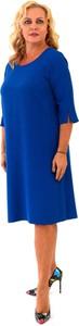 Niebieska sukienka Roxana - sukienki dla puszystych z długim rękawem