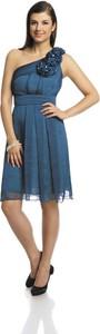 Niebieska sukienka Fokus z szyfonu mini