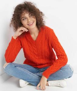 Pomarańczowy sweter ORSAY w stylu casual z dzianiny