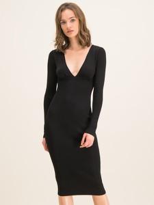 Czarna sukienka Pinko z dekoltem w kształcie litery v z długim rękawem midi