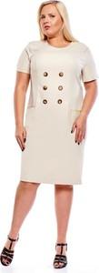 Sukienka Fokus z lnu z krótkim rękawem