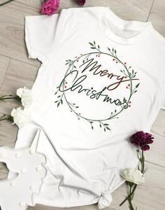 Bluzka Time For Fashion z bawełny z okrągłym dekoltem w bożonarodzeniowy wzór