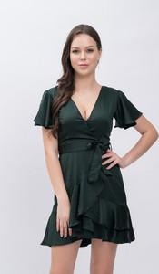 Sukienka Justmelove kopertowa z jedwabiu mini