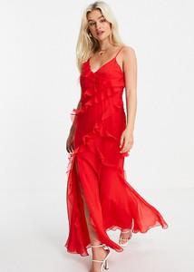 Czerwona sukienka Asos z dekoltem w kształcie litery v