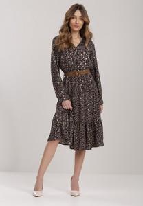 Czarna sukienka Renee z długim rękawem trapezowa midi
