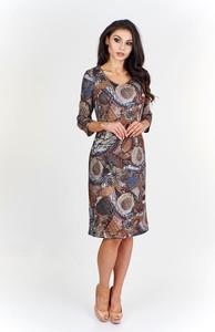 Sukienka Fokus z długim rękawem dopasowana z dzianiny