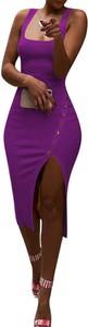Fioletowa sukienka Arilook asymetryczna
