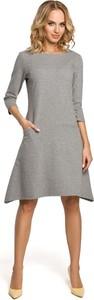 Sukienka MOE z długim rękawem asymetryczna midi