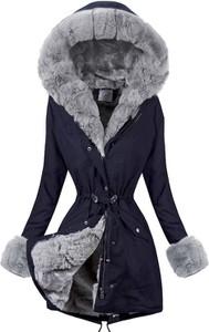 Granatowa kurtka Elegrina w stylu casual długa z bawełny