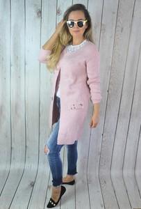 Różowy sweter hitdnia.com.pl z dzianiny w stylu casual