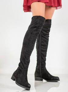 Kozaki Merg za kolano z płaską podeszwą w stylu casual