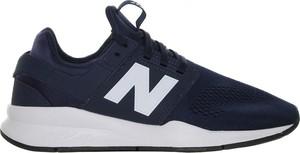 Granatowe buty sportowe New Balance ze skóry ekologicznej sznurowane