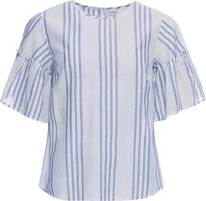Fioletowa bluzka bonprix BODYFLIRT w stylu casual z krótkim rękawem z okrągłym dekoltem