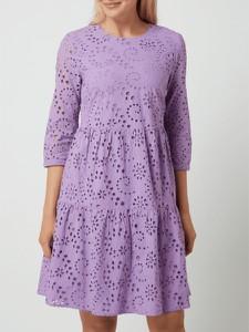 Fioletowa sukienka Montego z długim rękawem mini z okrągłym dekoltem