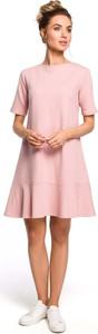Różowa sukienka MOE trapezowa z bawełny midi