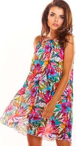 Sukienka Awama z okrągłym dekoltem bez rękawów mini