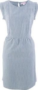 Niebieska sukienka bonprix bpc bonprix collection mini na co dzień z krótkim rękawem