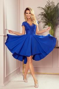 Niebieska sukienka NUMOCO bez rękawów asymetryczna