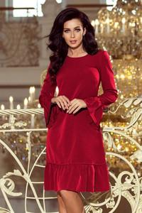 Czerwona sukienka NUMOCO midi z okrągłym dekoltem trapezowa