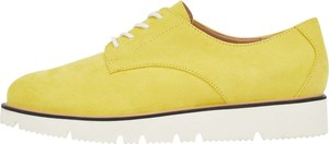 Żółte półbuty Bianco z płaską podeszwą sznurowane w stylu casual