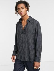 Czarna koszula Weekday z długim rękawem ze skóry z nadrukiem