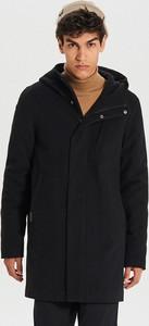 Czarny płaszcz męski Cropp w stylu casual z wełny