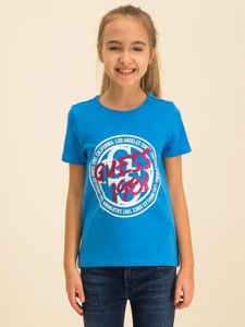 Niebieska koszulka dziecięca Guess z krótkim rękawem