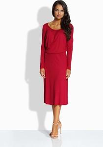 Czerwona sukienka Lemoniade rozkloszowana z długim rękawem midi