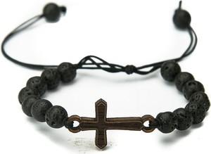 Drewniana bransoletka BEWOOD Krzyż Merbau Kamień Wulkaniczny