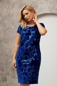 Niebieska sukienka Risca ołówkowa z dzianiny