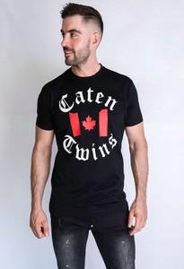 Czarny t-shirt Dsquared2 w młodzieżowym stylu z krótkim rękawem z bawełny