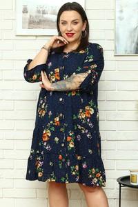 Sukienka KARKO szmizjerka mini z okrągłym dekoltem