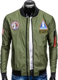 Ombre clothing kurtka męska przejściowa bomberka c351 - oliwkowa
