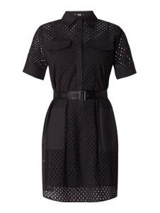 Czarna sukienka Karl Lagerfeld z krótkim rękawem z bawełny