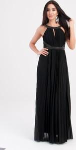 Czarna sukienka Butik Ecru maxi rozkloszowana