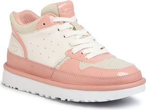 Różowe buty sportowe UGG Australia z płaską podeszwą ze skóry ekologicznej