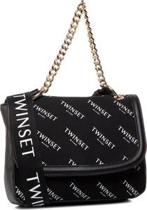 Czarna torebka Twinset na ramię w młodzieżowym stylu z nadrukiem