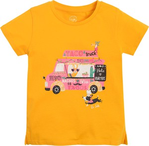 Żółta koszulka dziecięca Cool Club z krótkim rękawem z bawełny dla chłopców