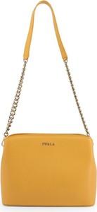 Żółta torebka Furla ze skóry w stylu casual matowa