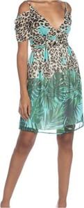 Zielona sukienka Relish z krótkim rękawem z dekoltem w kształcie litery v