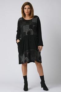 Czarna sukienka Plus Size Company mini z okrągłym dekoltem z długim rękawem