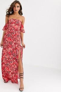 Sukienka Koco & K maxi z odkrytymi ramionami