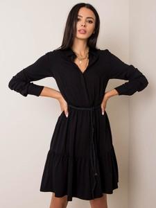Czarna sukienka Sheandher.pl mini z dekoltem w kształcie litery v koszulowa