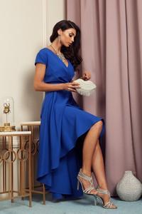 Niebieska sukienka Marconifashion maxi z dekoltem w kształcie litery v