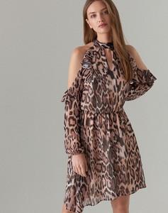 1e3b8547f3 Brązowa sukienka Mohito z długim rękawem z dekoltem halter