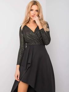 Czarna sukienka Sheandher.pl z długim rękawem mini z dekoltem w kształcie litery v