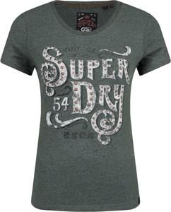 Zielony t-shirt Superdry z okrągłym dekoltem